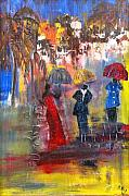 Gown Painting Originals - Red Umbrella by Glenda  Jones