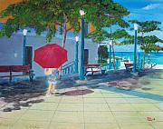 San Juan Paintings - Red Umbrella in San Juan by Tony Rodriguez