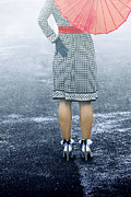 Frock Photo Posters - Red Umbrella Poster by Joana Kruse