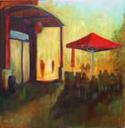 Northwest Paintings - Red Umbrella by LaDonna Kruger
