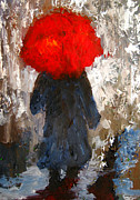Umbrella Paintings - Red umbrella under the rain by Patricia Awapara