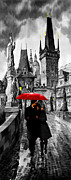 Rain Mixed Media Posters - Red Umbrella Poster by Yuriy  Shevchuk