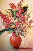 Gladiolas Paintings - Red Vase by Ingrid Dohm