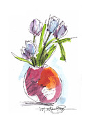 Tulips Drawings Prints - Red Vase with Tulips Print by Marilyn MacGregor