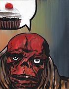 Ryan Jones Prints - Red Velvet - Red Skull  Print by Ryan Jones