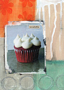 Blue Flowers Mixed Media - Red Velvet Cupcake by Linda Woods
