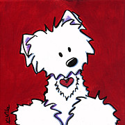 Westie Dog Paintings - Red Velvet Westie by Kim Niles