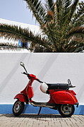 Surrounding Wall Prints - Red Vespa by wall Print by Sami Sarkis