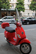 Roman Streets Posters - Red Vespa Poster by Inge Johnsson