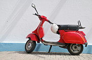 Sicily Prints - Red Vespa scooter by wall Print by Sami Sarkis