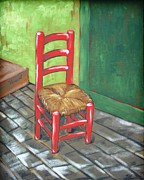 Ladderback Chair Paintings - Red Vincent by JW DeBrock