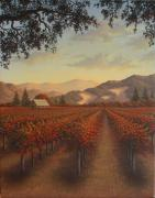 California Vineyard Paintings - Red Vines by Patrick ORourke