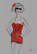 Bathing Digital Art - Red Vintage Bathing Suit by Ginette Fine Art LLC Ginette Callaway