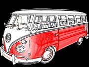 Hippie Van Posters - Red Volkswagen Poster by Cheryl Young