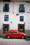 Vw Beetle Framed Prints - Red VW Beetle in Cusco Peru Framed Print by Alex Hinds