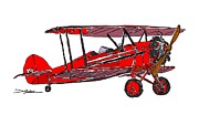 Biplane Drawings - Red Waco by Arlon Rosenoff