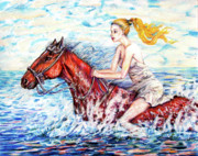 Seashore Drawings Metal Prints - Red wade  Metal Print by Yelena Rubin