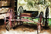 Gatlinburg Digital Art Framed Prints - Red Wagon Framed Print by Deborah
