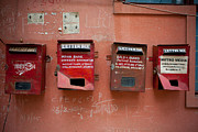 Mail Box Prints - Red Wall Print by Subpong Ittitanakul