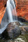 Motion Prints - Red Waterfall Print by Carlos Caetano