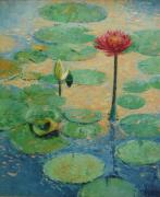 Waterlillys Paintings - Red Waterlilly by William Bowen Rogers