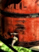 Red Weathered Wooden Bucket Print by Paul Ward