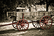 Old Wooden Wagon Prints - Red Wheeled Wagon Print by Julie Palencia