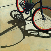 Red Wheels - Bicycle Art Oil Painting Print by Linda Apple