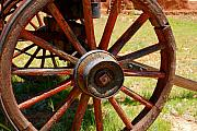 Wagon Wheel Prints - Red Wheels Print by David Lee Thompson