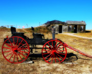 Wagon Photos - Red Wheels by Perry Webster