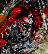 Chrome Skull Prints - Red White and Bling Print by Noreen Berman