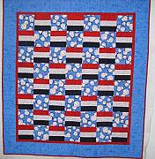 Maine Tapestries - Textiles - Red White and Blue Baseball Throw by Vicky Birden
