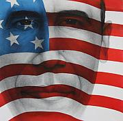 Obama Portrait Mixed Media Posters - Red White and Blue Poster by Gary Kaemmer