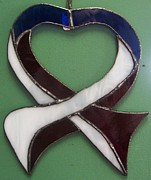 Patriotic Glass Art - Red White and Blue Heart by Dippel