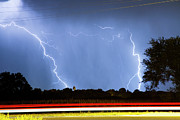 Lightning Weather Stock Images Posters - Red White And Blue Poster by James Bo Insogna
