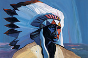 Head Dress Framed Prints - Red White and Blue Framed Print by Mike Lawrence