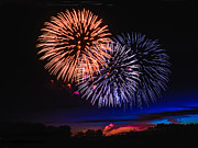 Yellow Fireworks Prints - Red White and Blue Print by Robert Bales