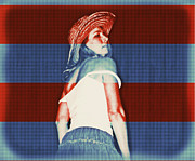 Cowgirl Skirt Posters - Red White and Blued Poster by Cindy Nunn