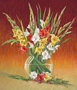 Gladiolus Paintings - Red White and Yellow Gladiolus by Nancy Tilles