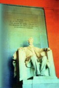 Lincoln Memorial Mixed Media Posters - Red White Blue Lincoln Poster by Desiree Paquette