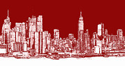City Buildings Drawings Prints - Red white NYC skyline Print by Lee-Ann Adendorff