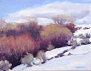 Snow Scene Pastels Posters - Red Willows Poster by Julie Mayser