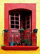 Michael Photo Framed Prints - Red Window Framed Print by Olden Mexico