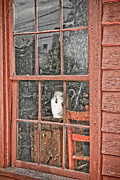 Cabin Window Framed Prints - Red Window Framed Print by PMG Images