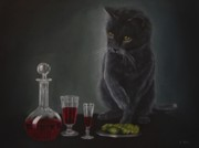 Canvas Wine Prints Framed Prints - Red Wine and Black Cat Framed Print by Sid Ball