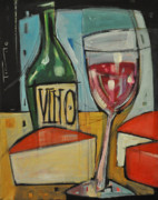 Bistro Paintings - Red Wine And Cheese by Tim Nyberg