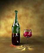 Wine-bottle Framed Prints - Red Wine Bottle And Glass, Artwork Framed Print by Christian Darkin