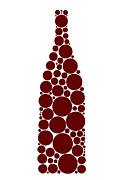 Red Drawings Prints - Red Wine Bottle Print by Frank Tschakert