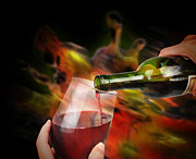 Angela Waye Prints - Red Wine Celebration Print by Angela Waye