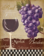 Painted Glass Posters - Red Wine collage Poster by Grace Pullen